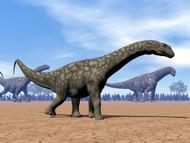 Three Argentinosaurus Dinosaurs Walking In The Desert II