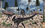 A Pair Of Allosaurus Dinosaurs Confront A Lone Stegosaurus