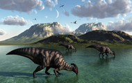 A Group Of Parasaurolophus Dinosaurs Feed From A Freshwater Lake