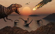 A Mighty T. Rex Roars From Overhead As A Giant Fireball Falls From The Sky