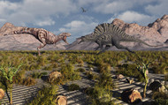 A Confrontation between a T. Rex and a Spinosaurus Dinosaur III