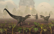 A Pair Of Allosaurus Dinosaurs Tracking Down A Lone Stegosaurus