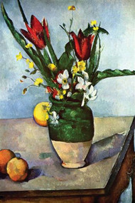 Still Life with Tulips & Apples by Paul Cezanne