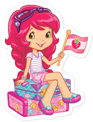 Strawberry Shortcake On Luggage with Flag