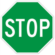 Green Stop Sign Wall Graphic