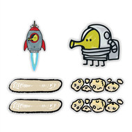 Doodle Jump Space Special Set of 6 Wall Graphics (12 inch)
