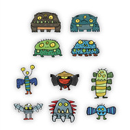 Doodle Jump Monsters Mini Wall Graphics Set of 10 Wall Graphics (6 inch)