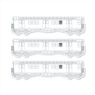 "All City Style Template: Set of Three 12"" x 3.25"" Premium Blank Classic Train Wall Graphics"