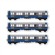 "All City Style Silver Streak: Set of Three 12"" x 3.25"" Premium Blank Classic Train Wall Graphics"