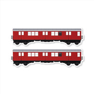 "All City Style Redbird: Set of Two 24"" x 6.5"" Premium Blank Classic Train Wall Graphics"