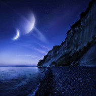 Two Planets Hover Over A Tranquil Sea And Mons Klint Cliffs Denmark