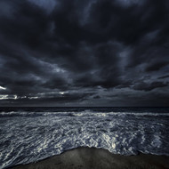 Rough Seaside Against Stormy Clouds Hersonissos Crete Greece