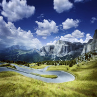 Winding Road In A Forest Of Dolomite Alps Northern Italy