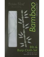 Bubba Blue Bamboo White Bib & Burp Cloth Set