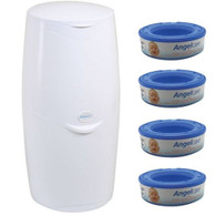Angelcare Nappy Disposal System Starter Kit with 4 refill cassette