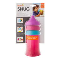 Boon Snug Spout Universal Silicone Sippy Lids and Cup - Pink/Blue/Red
