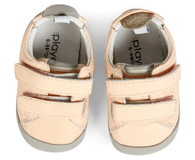 Playette Leather / Double Velcro Strap  / First Walkers- Bella  Pink