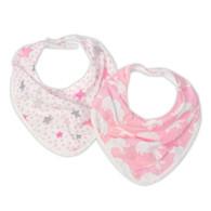 The Little Linen Company - Bib 2 Pack - Pink Elephants