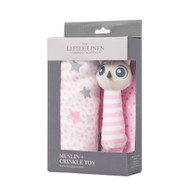 The Little Linen Company - Muslin Wrap & Crinkle Toy - Pink Owl