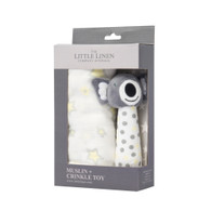 The Little Linen Company - Muslin Wrap & Crinkle Toy - Silver Koala