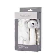 The Little Linen Company - Muslin Wrap & Crinkle Toy -  Ivory Bunny
