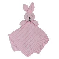 Living Textiles Cable Knit Security Blanket - Pink Bunny
