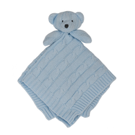 Living Textiles Cable Knit Security Blanket - Blue Bear