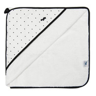 Little Turtle Baby Hooded Towel - WHITE WITH BLACK DOTS