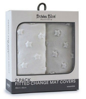 Bubba Blue Everyday Essentials Fitted 2pk Change Mat Covers - Grey & White (star)