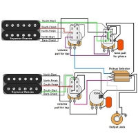 guitar wiring diagrams 1 humbucker 2 single coils rh guitarelectronics com 4 Wire Humbucker Wiring-Diagram BHK Humbucker Wiring