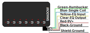 Shadow EQ5 Active Humbucker with Equalizer Wire Color Codes