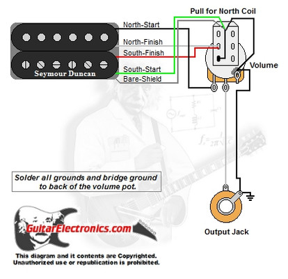 1 humbucker 1 volume pull for north single coil rh guitarelectronics com Guitar Coil Tap Wiring Diagrams Guitar Wiring Diagram Two Humbuckers
