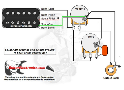 1 humbucker 1 volume 1 tone rh guitarelectronics com single coil humbucker wiring diagram gibson single humbucker wiring diagram
