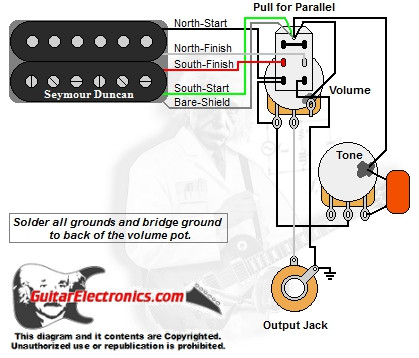 1 Humbucker Volume Tone Series Parallel Custom Electric Guitar Wiring Diagrams Dual