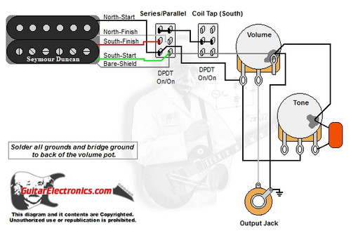 1 humbucker 1 volume 1 tone series parallel coil tap south rh guitarelectronics com Seymour Duncan Humbucker Wiring Diagrams Seymour Duncan Humbucker Wiring Diagrams