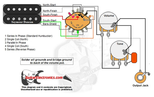 Rotary Switch Wiring Diagram Guitar : Humbucker volume tone way rotary switch