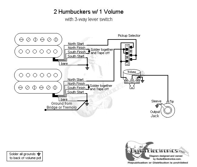 2 humbuckers 3 way lever switch 1 volume. Black Bedroom Furniture Sets. Home Design Ideas