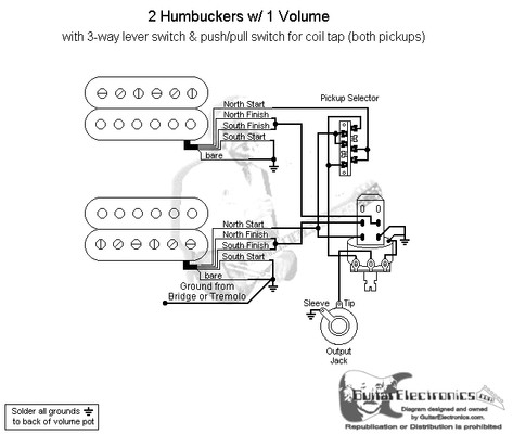Humbuckers 3 Way Lever Switch 1 Volume Coil Tap Guitar Pickup Wiring One Volume One 3-Way Switch 2 Humbuckers 1 Volume Wiring-Diagram Guitar 2Wire Pickup Wiring Diagrams At IT-Energia.com