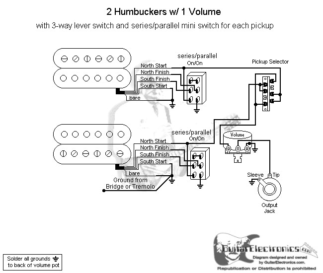 2 humbuckers 3 way lever switch 1 volume series parallel rh guitarelectronics com