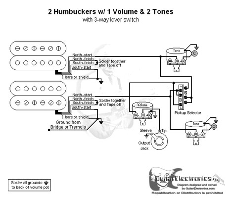 2 humbucker 2 volume 1 tone wiring diagrams residential electrical rh bookmyad co 2 Pickup Guitar Wiring