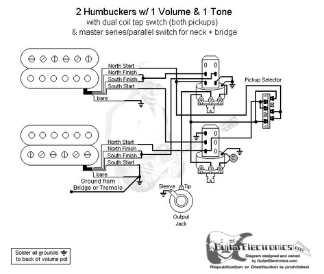 Hbs 3 Way Lever 1 Vol 2 Tones Coil Tap & Series Parallel Guitar Pickup Wiring One Volume One 3-Way Switch 2 Humbuckers 1 Volume Wiring-Diagram Guitar 2Wire Pickup Wiring Diagrams At IT-Energia.com
