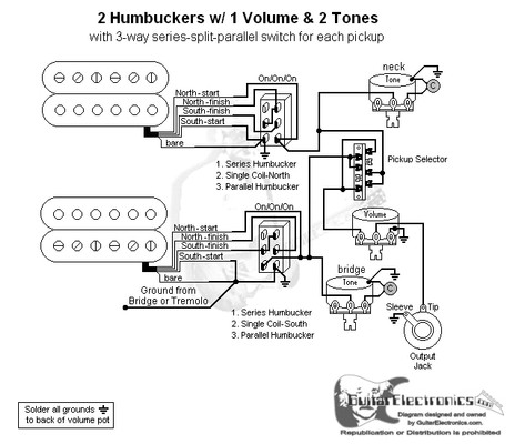 2 humbuckers 3 way lever switch 1 volume 2 tones series split parallel rh guitarelectronics com