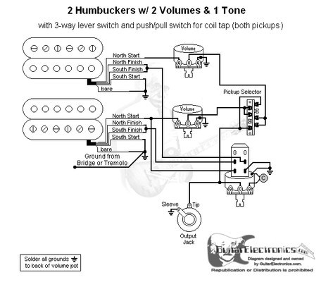 2 humbuckers 3 way lever switch 2 volumes 1 tone coil tap. Black Bedroom Furniture Sets. Home Design Ideas