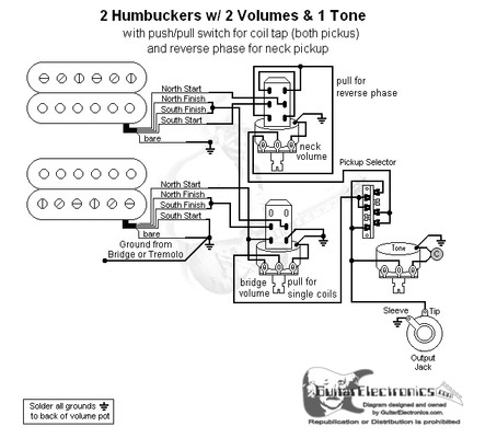 hbs 3 way lever 2 vol 1 tone coil tap & reverse phase Tele Dual Humbucker Wiring-Diagram  Humbucker Bass Pick Up Wiring Color Codes Split Coil Humbucker 3 Guitar Pickup Wiring Diagram 1