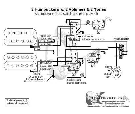 hbs 3 way lever 2 vol 2 tones coil tap reverse phase rh guitarelectronics com Double Humbucker Wiring-Diagram 2 Humbuckers 1 Volume 1 Tone 3 Way and Switchable Single Coil Tap