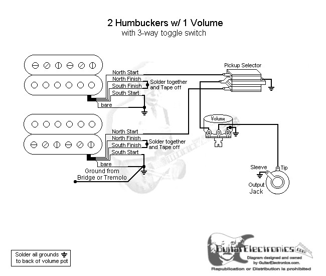 no tone wiring diagrams guitar 2 humbuckers/3-way toggle switch/1 volume guitar wiring diagrams 1 pickup no volume