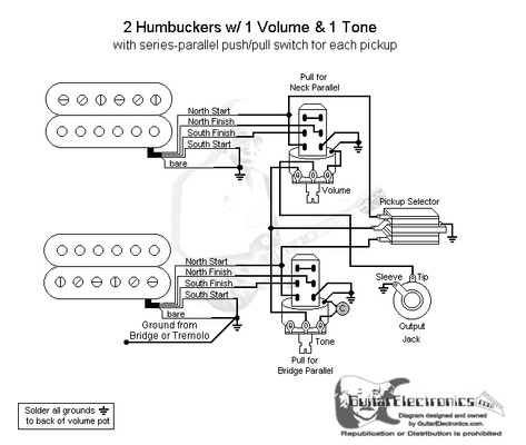 2 humbuckers 3 way toggle switch 1 volume 1 tone series parallel rh guitarelectronics com