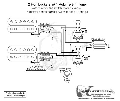 hbs 3 way toggle 1 vol 1 tone coil tap series parallel rh guitarelectronics com Gibson Epiphone Bass Guitars Wiring Diagrams Seymour Duncan Humbucker Wiring Diagrams