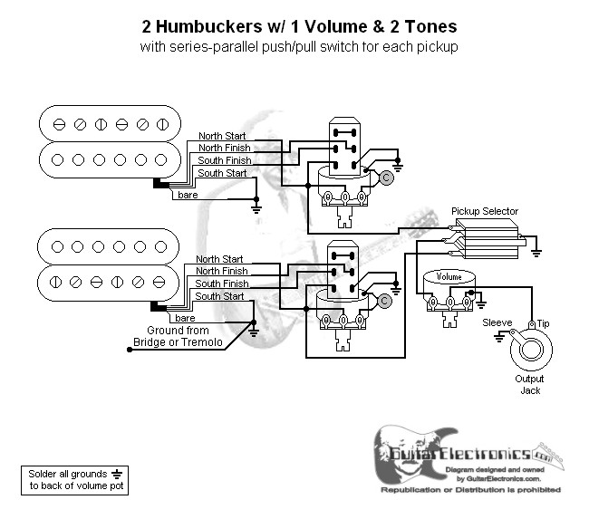 2 Humbuckers  3 1 Volume  2 Tones  Series