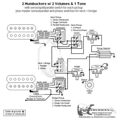 2 Humbuckers/3-Way Toggle Switch/2 Volumes/1 Tone/Series-Split-Parallel, Reverse Phase & Master Series-Parallel